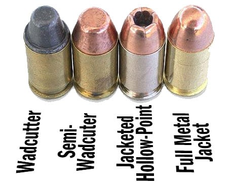 Cartridge types, hollowpoints, roundball, wadcutters.