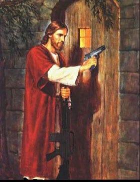 painting of jesus christ with handgun