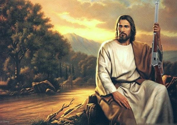 jesus christ holding rifle