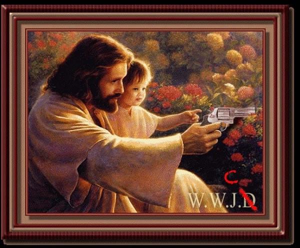 jesus christ with handgun painting