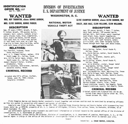 Bonnie Parker and Clyde Barrow wanted poster.