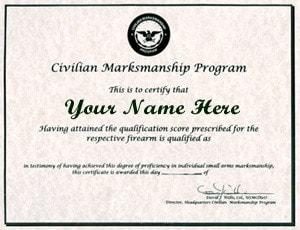 civilan marksmanship program certificate