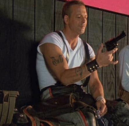 "Harley Davidson, from the film ""Harley Davidson and the Marlboro Man"", holds .454 Casull Ruger Super Blackhawk.."
