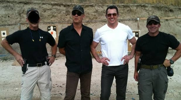 Tom Hanks with the US military and Dalton Fury