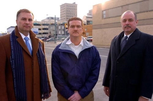 photo of Canton Mayor William Healy II, Bill Adams, and Stark County Commissioner Steven Meeks