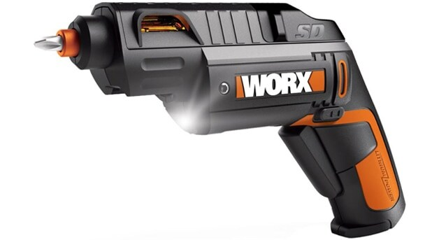 Drill gun with LED light flashing.