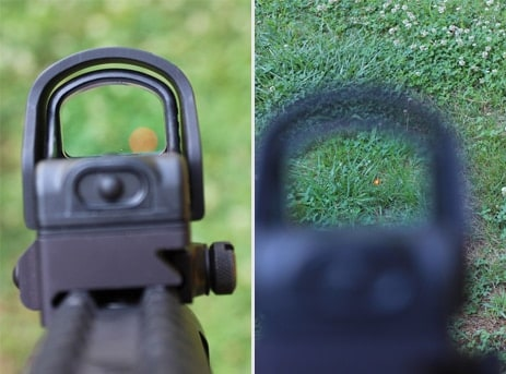 Eotech MRDS red dot views against grass