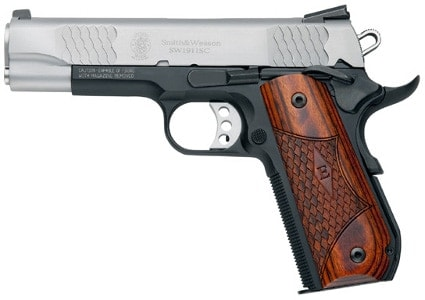 smith and wesson e series 1911 handgun on white background