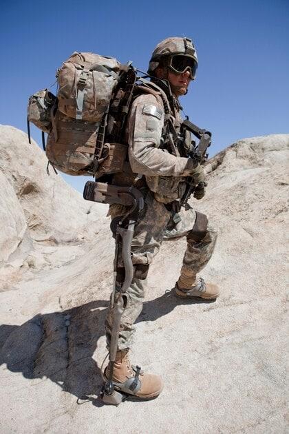 marine on mountain rock