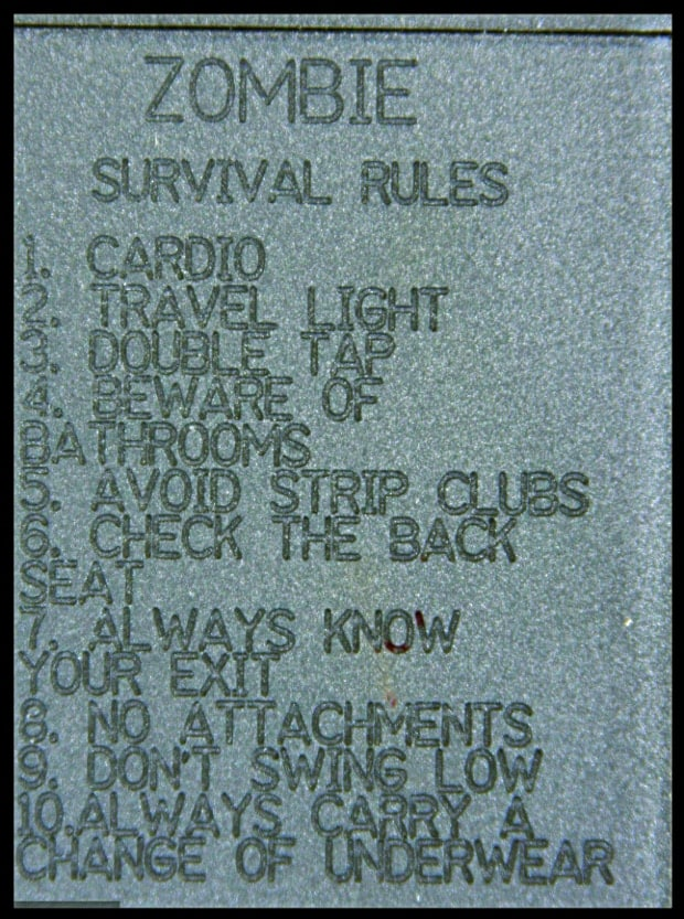 zombie survival rules etched on gun