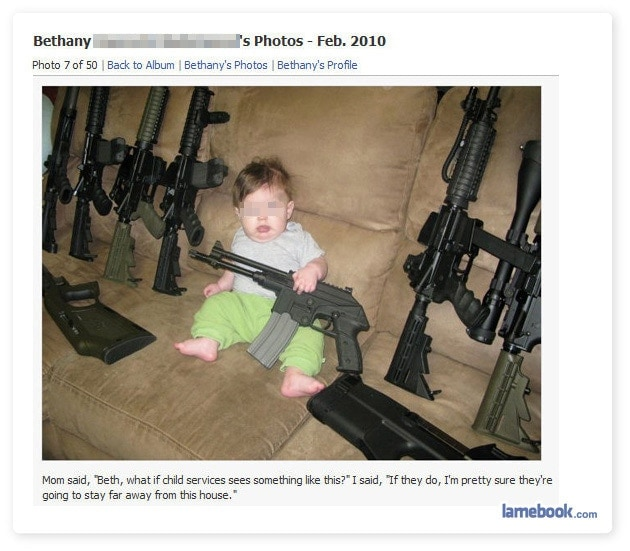 photo of baby with guns on facebook