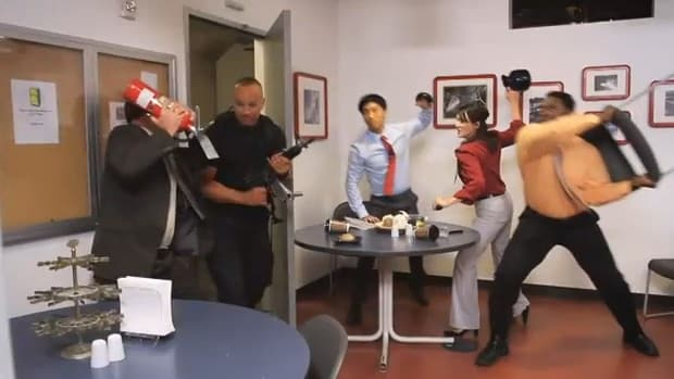 office fighting shooter with improvised weapons