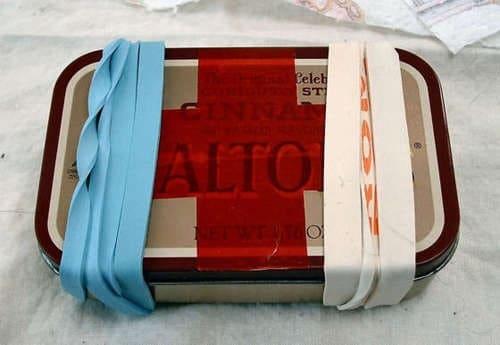 first aid kit in altoid tin