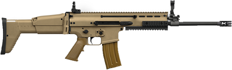 coyote brown fn scar 16 rifle on white background