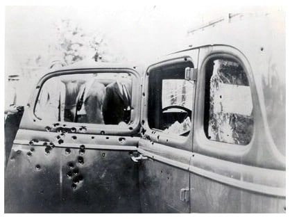 bonnie and clyde shot up car