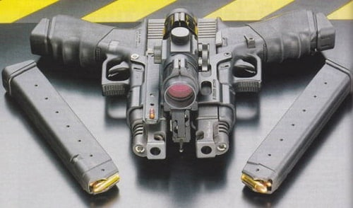 Two fully-automatic glocks bolted together with a red dot sight on top