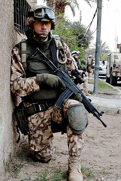 solider with Israeli Galil assault rifle