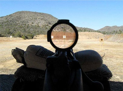 Looking through the scope of the Gibbs M1903A4