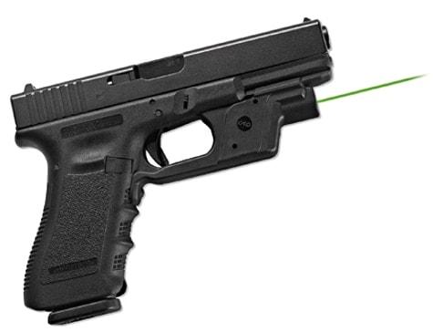 green laser on a Glock pistol