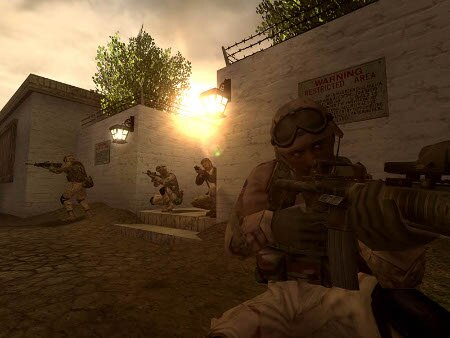 soldiers raiding a building in video game