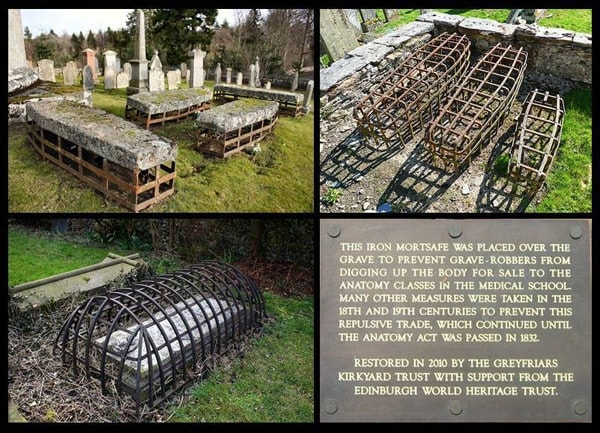 Cages for coffins.