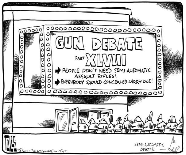 """A political cartoon called, """"Gun Debate, Part XLVIII"""", by Toles"""