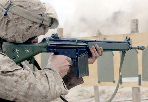A soldier shooting a G3