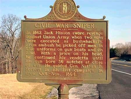 jack hinson civil war sniper plaque