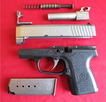 The Kahr CM40 field stripped