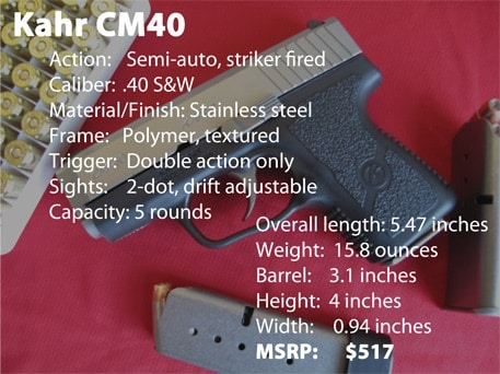 Kahr CM40 spec sheet photo