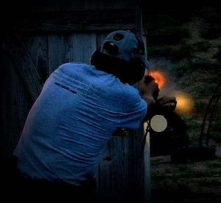 Shooting from behind concealment.