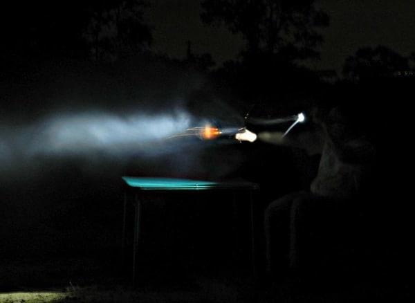 Firing AR-15 in dark.