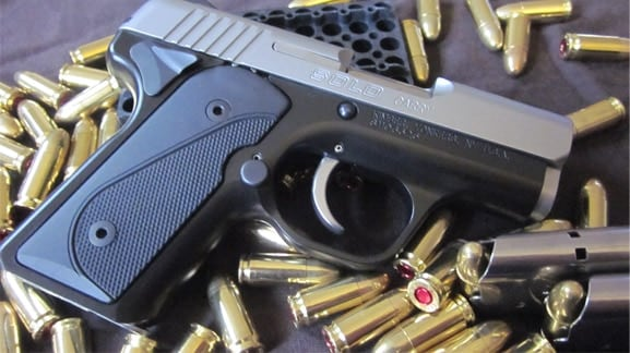 The Kimber Solo showered in Federal 9mm bullets.