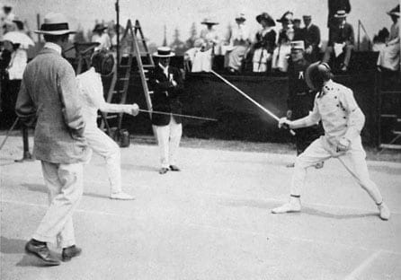 Patton fencing at Stockholm Olympics