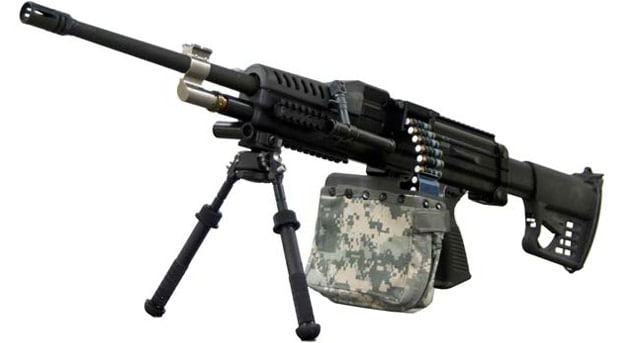 An experimental M249 SAW designed to shoot caseless ammo.