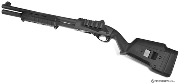 A Remington 870 shotgun fitted with Magpul accessories