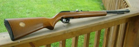 Marlin 60 resting on the rail of a porch in a beautifully manicured lawn.