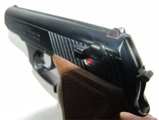 Mauser HSc-80 features such as manual safety and fixed sights.