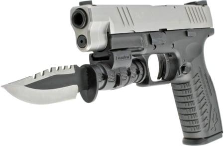 knife on handgun