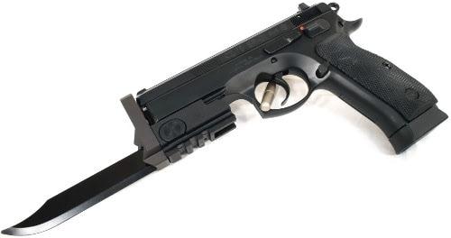 knife attached to handgun