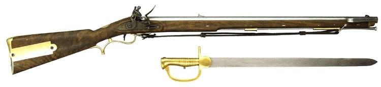 British Baker flintlock rifle with sword bayonet