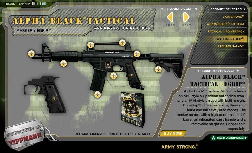 alpha black tactical paintball gun ad