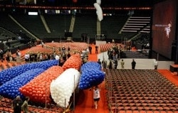 Volunteers preparing bags of inflated balloons for the show at the Republican National Convention (RNC)