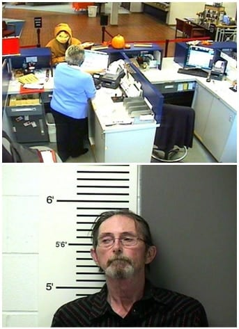 Top, 58-year-old Donald Ray Lee robbing the Peoples Bank & Trust while wearing a Halloween mask. Bottom, Lee's mugshot.