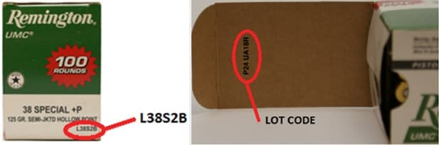 The Lot code P24UA18R will be stenciled on the side of the box, and on the inside flap.