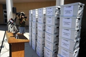 boxes of 370,000 signed petitions