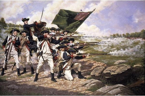 painting of revolutionary war battle