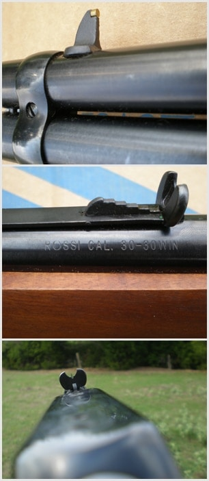 The sights on the Rossi Rio Grande lever action rifle.