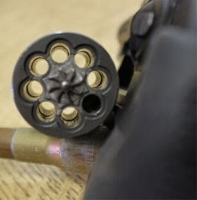 A Ruger LCR-22 with its cylinder open. It can hold 8 rounds.
