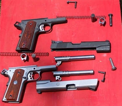 ruger sr1911 and springfield range officer pistols field-stripped